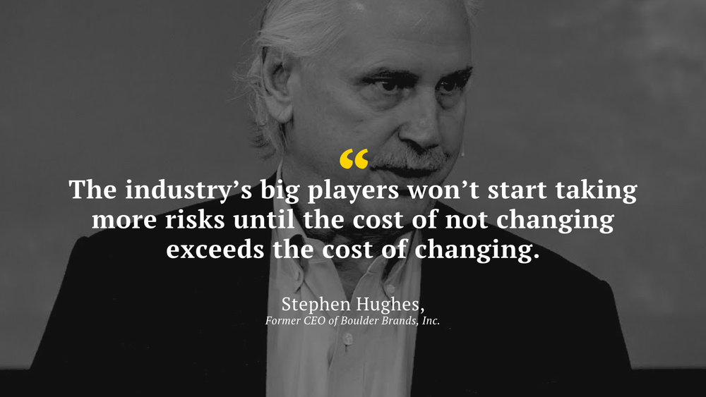 "The experts believe ""The industry's big players won't start taking more risks until the cost of not changing exceeds the cost of changing"""