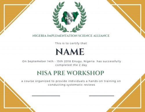 Pre & Post Workshop Evaluation — NISA RESEARCH