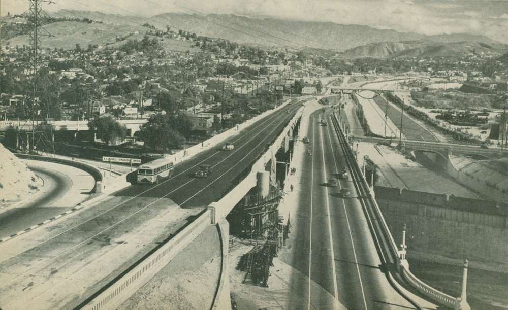 25. The new Arroyo Seco Parkway, walkway still under construction, 1944