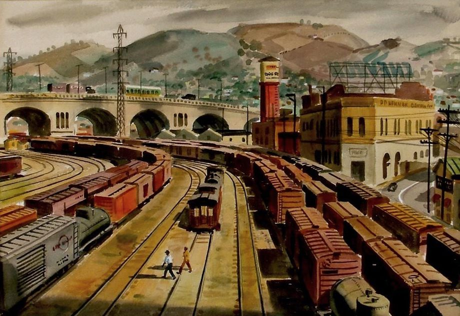 46. Painting of perspective from pedestrian bridge over River Station, 1947