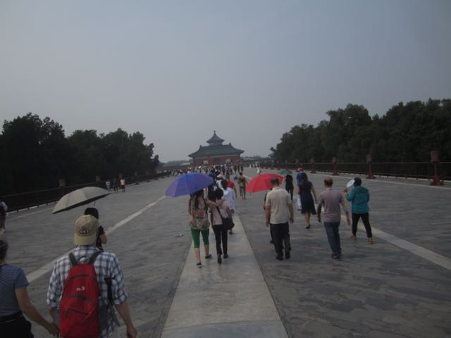 Crowds approaching one of the main structures on the temple grounds. The entire campus must have covered several acres.
