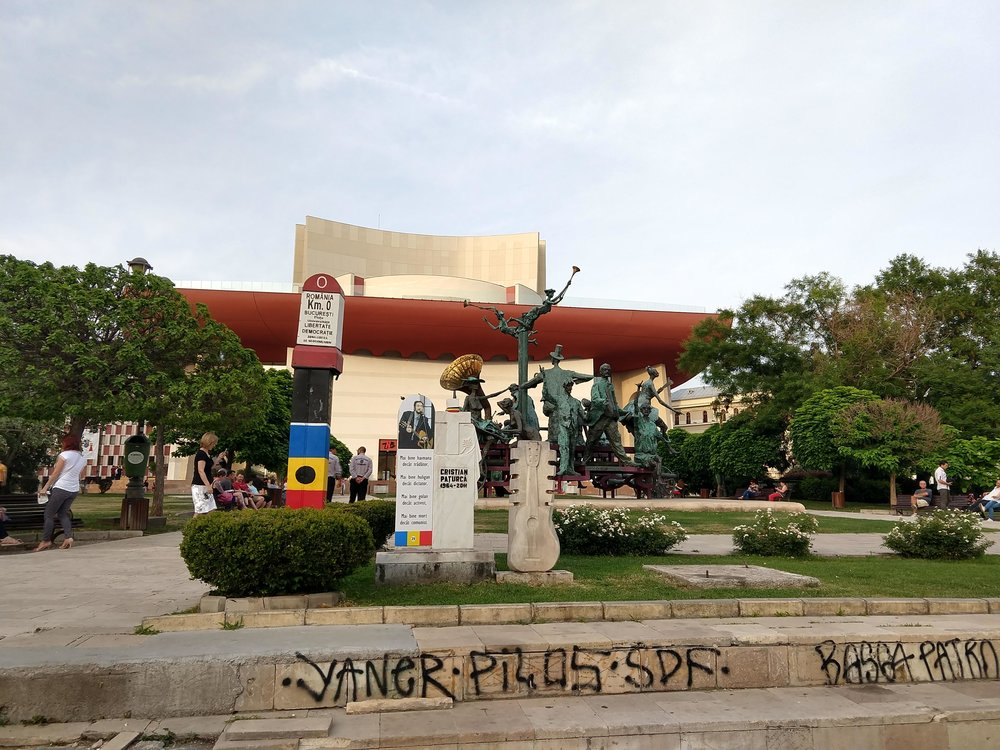 Monument and art sculptures near the site of Bucharest's kilometre zero.