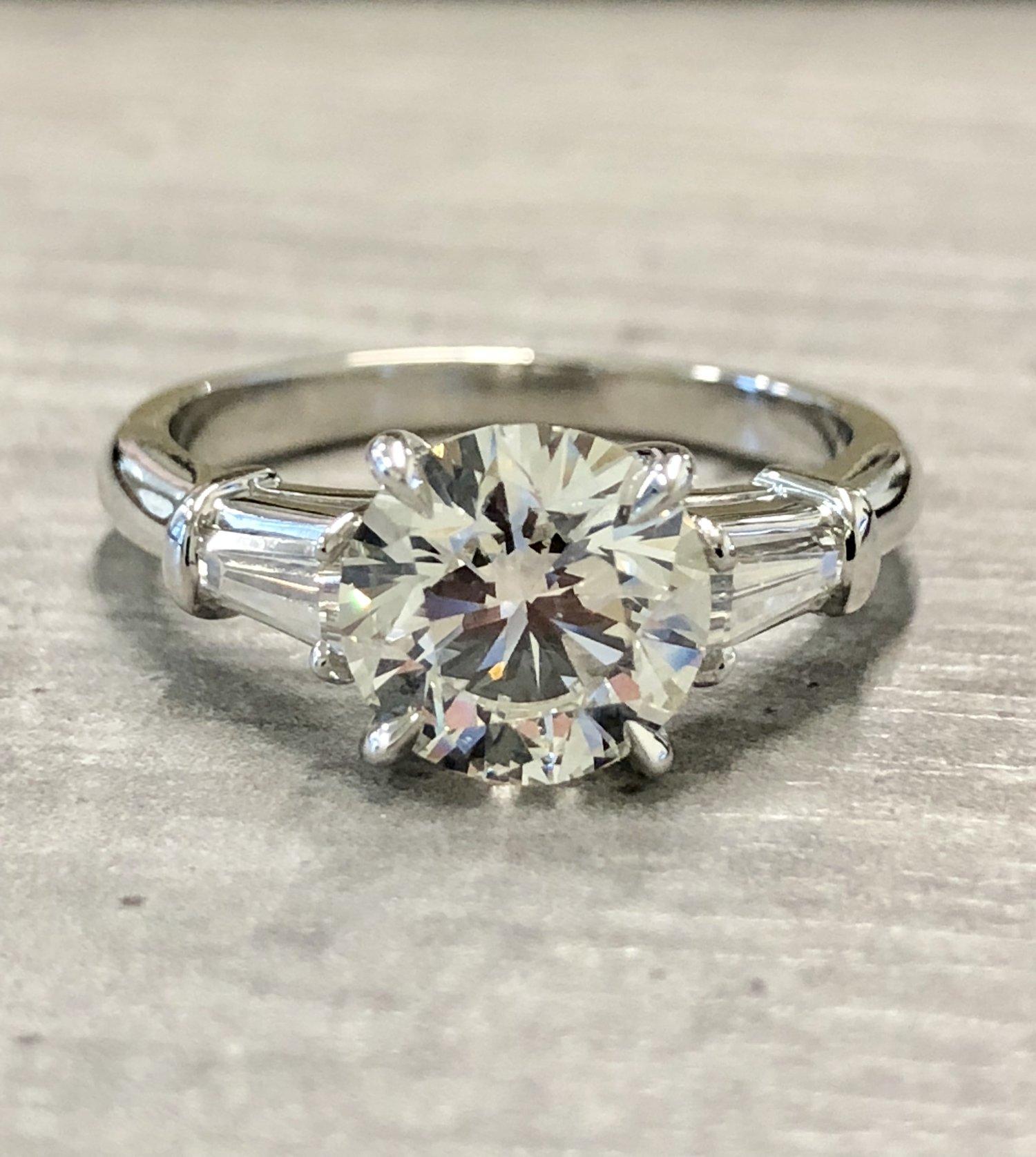Round Diamond W Baguettes Engagement Ring Hakimi Gem Imports