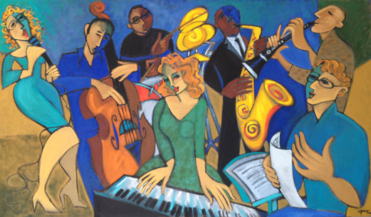 """Rehearsing the Gershwin Songbook"" Oil on Canvas 54x72"" by Marsha Hammel. Private Collection, UK"