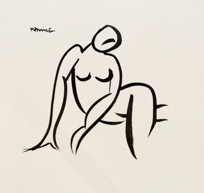 12 x 12 Nude Ink #1443