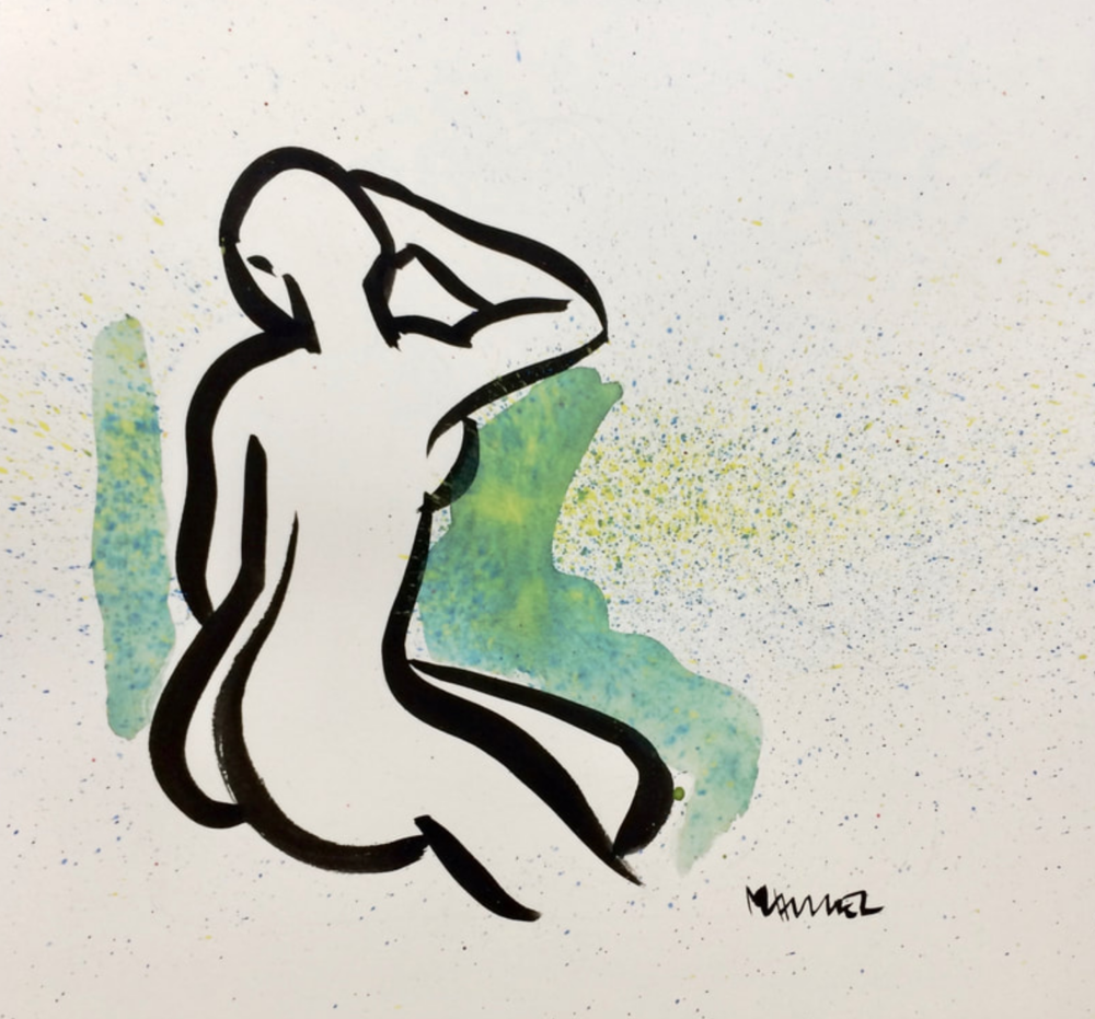 12 x 12 Nude Ink with watercolor #1468