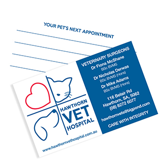 Logo Design, Business Cards and other supporting materials for Hawthorn Vet Hospital, South Australia.