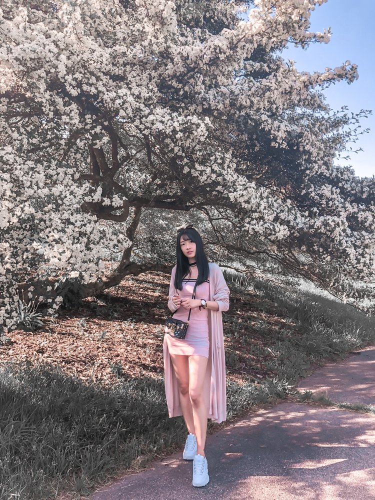 ↑Click on the photo to shop my outfits One Piece Pink Dress: Urban Outfitters Pink Cardigan: Snidel Bag: Louis Vuitton Petite Box Shoes: Fila disruptor