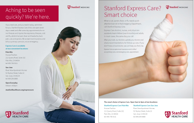 Stanford Express Care ad concepts.