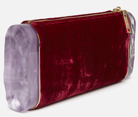 A delicious and totally impractical clutch in crushed, pinot noir velvet