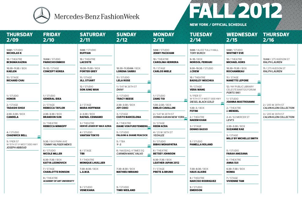 fashion week schedule fall 2012