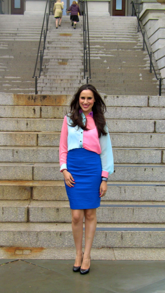 pink blue mint color blocking