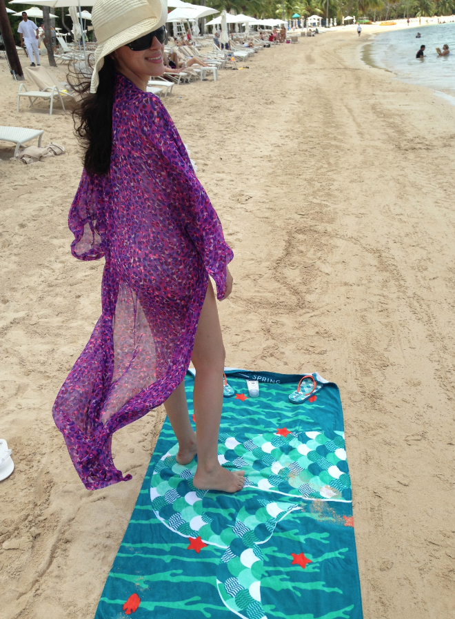 h&m purple beach cover up