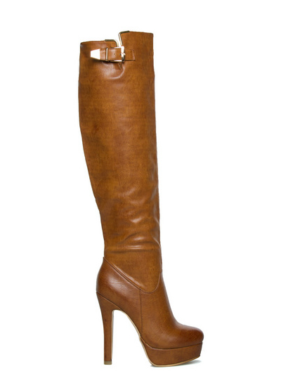shoedazzle brandy tan leather boots