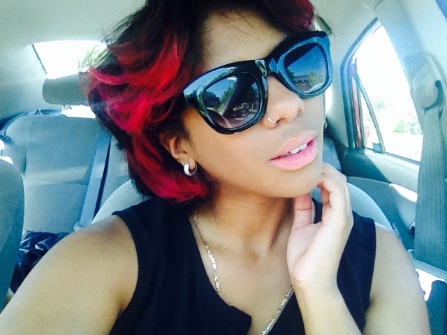 Magenta Ombre Hair Selfie