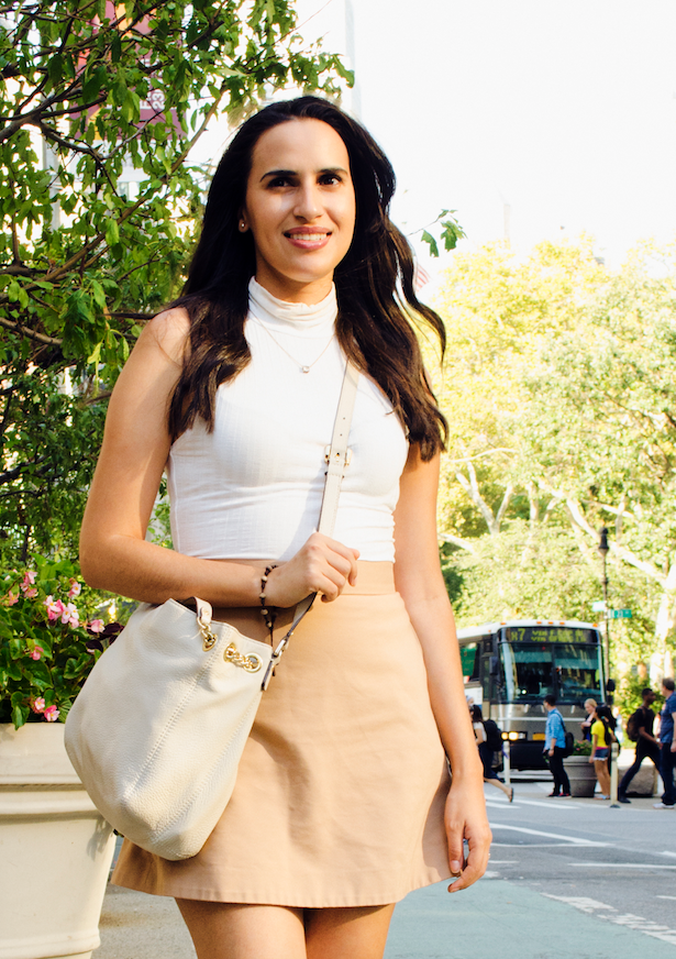 white and camel outfit of the day
