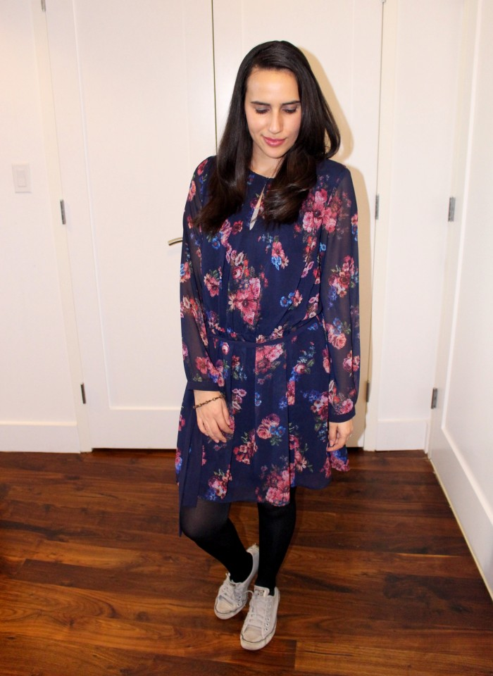 floral dress with sneakers