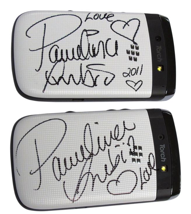 paulina rubio autographed phone