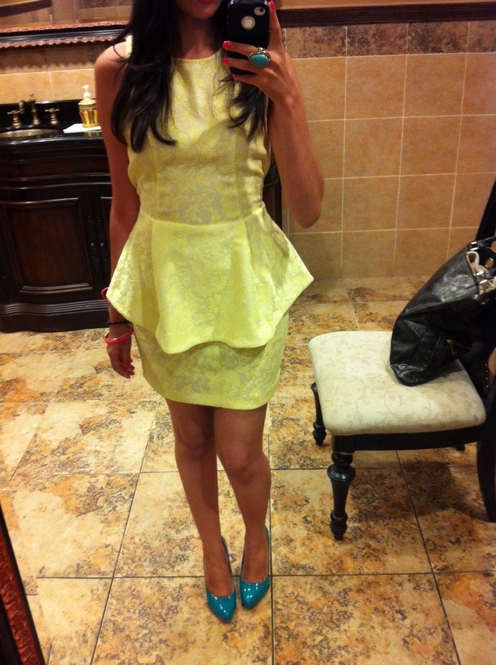 neon yellow pepum lace dress