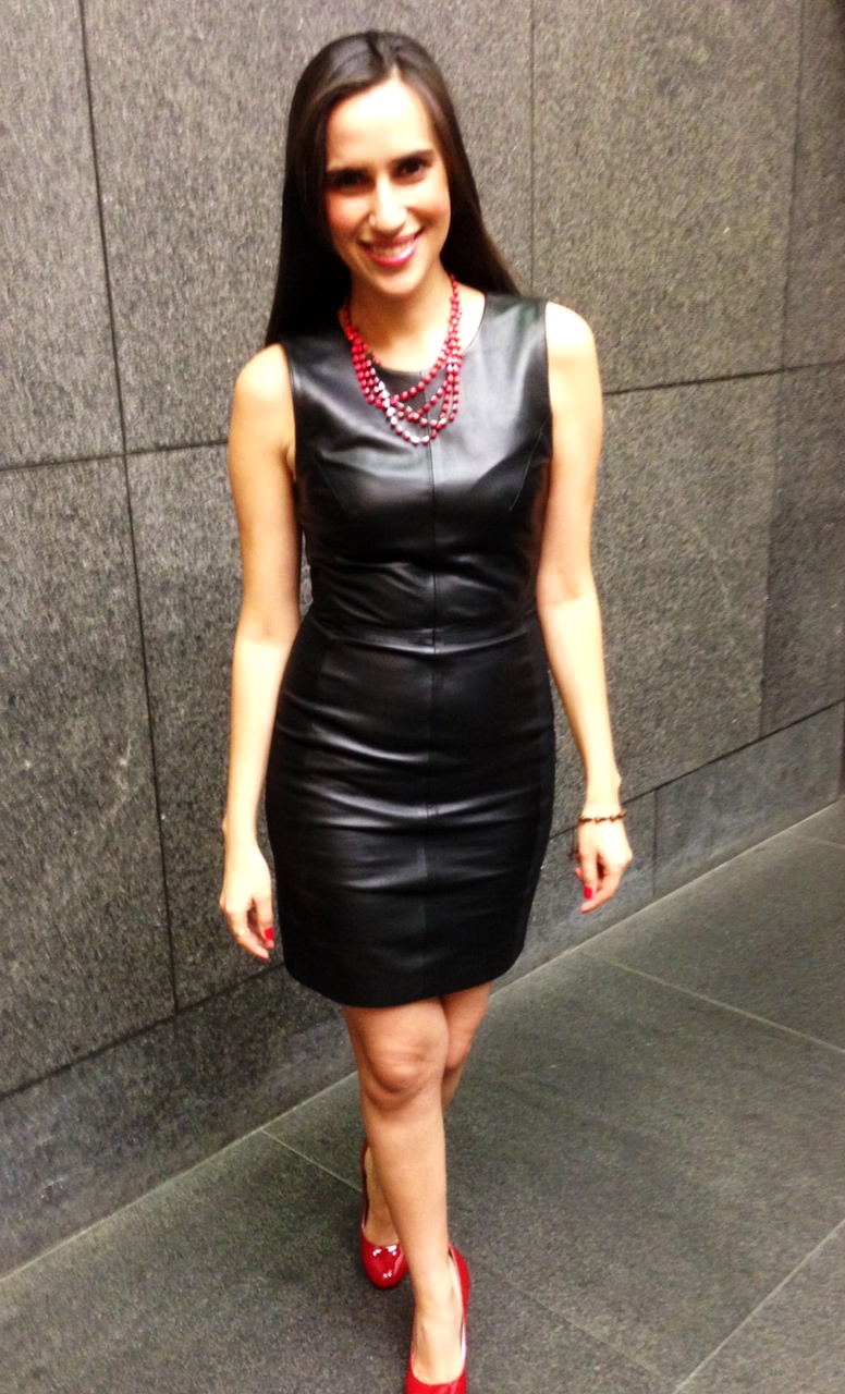 h&m black leather dress