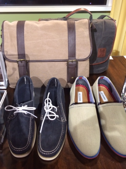 men bags and boat shoes