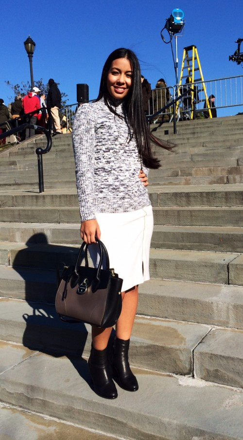 skirt and sweater combination fall fashion
