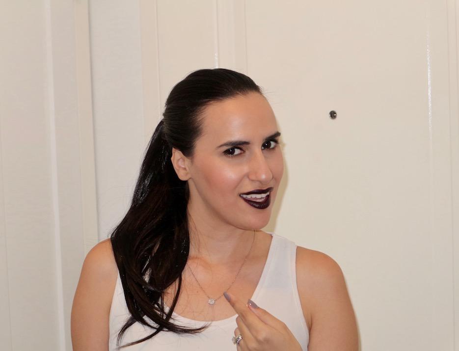 long hair dark lipstick