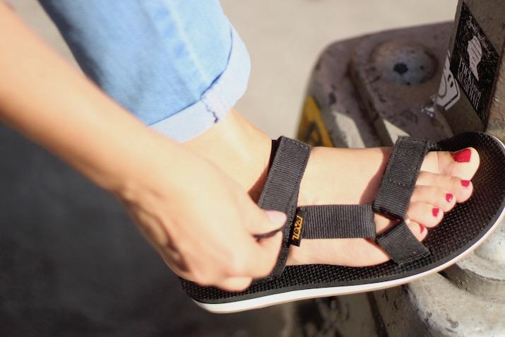 teva black and white sandals