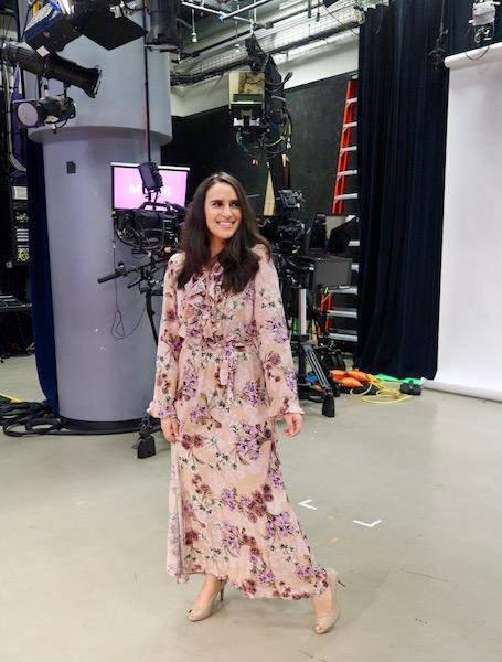 Lifestyle Expert Mercedes Sanchez wears floral dress