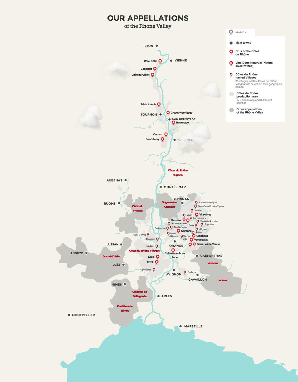 Rhone Valley Region Map