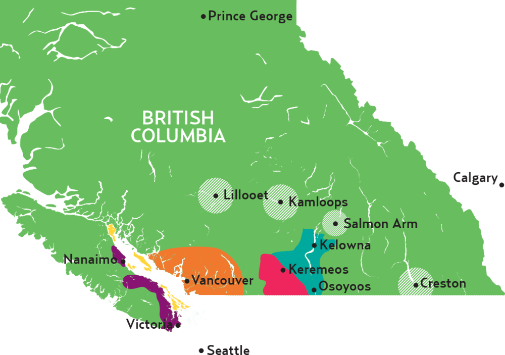 The Okanagan Valley is in the central-south region of BC, running from Osoyoos to Kelowna.
