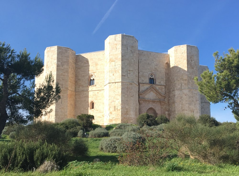 The mysterious octagonal Castel del Monte with its 8 octagonal towers - symbol of the Castel del Monte DOC