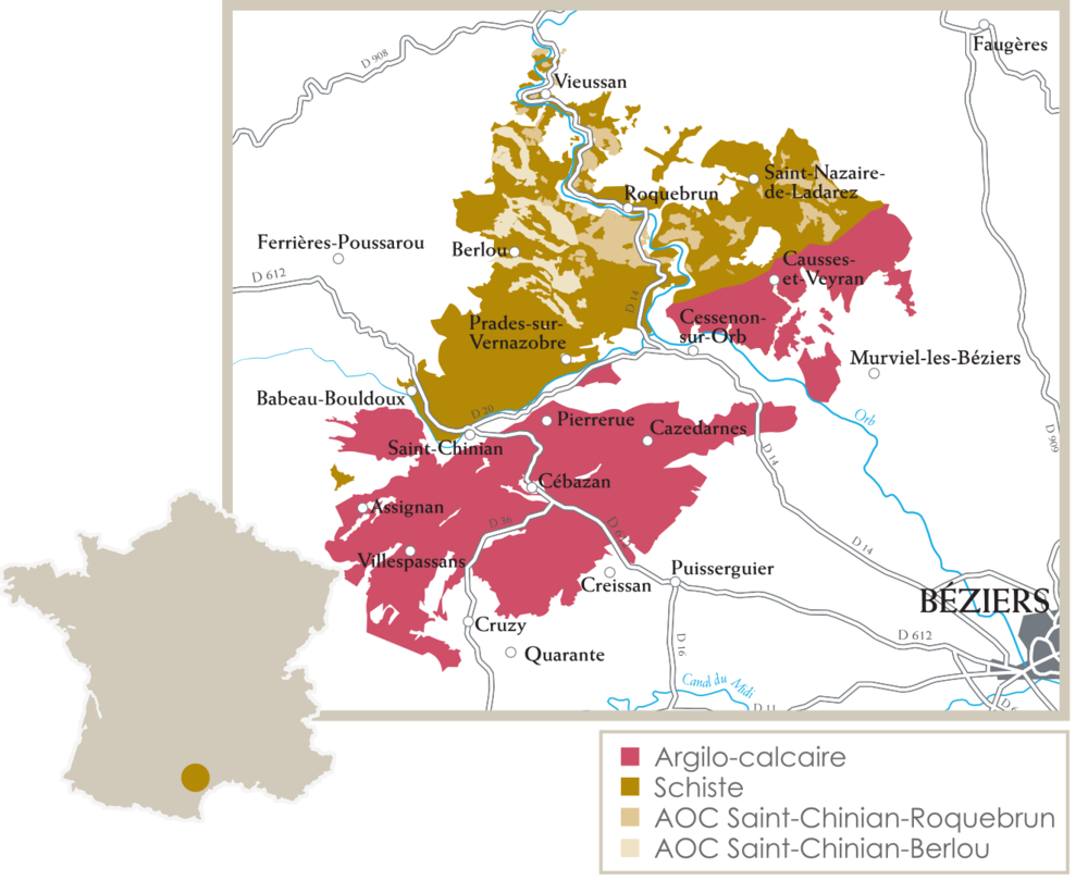 Saint-Chinian with its 2 sub-appellations, Saint-Chinian - Berlou and Saint-Chinian - Roquebrun