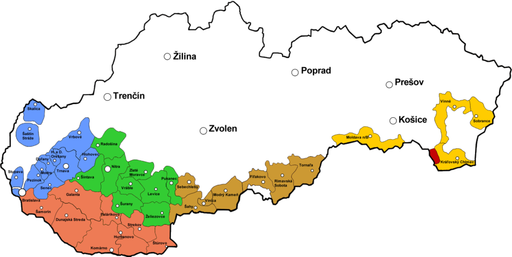 Lesser Carpathia wine region is the blue to the left.
