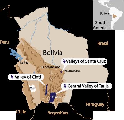 map of Bolivia Wine Regions