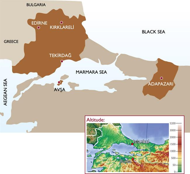 The Marmara region borders Greece and Bulgaria