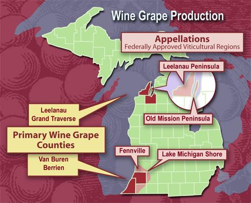 Michigan has 4 recognized AVAs (appellations)