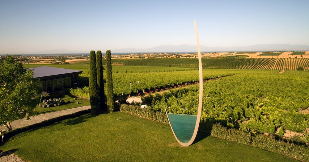 The vineyards and sculptures at Gerovassiliou Estate near the village of Epanomi