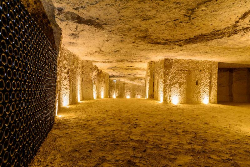 The famous tuffeau limestone caverns of the Loire, this at Chateau Monmousseau, provide perfect storage