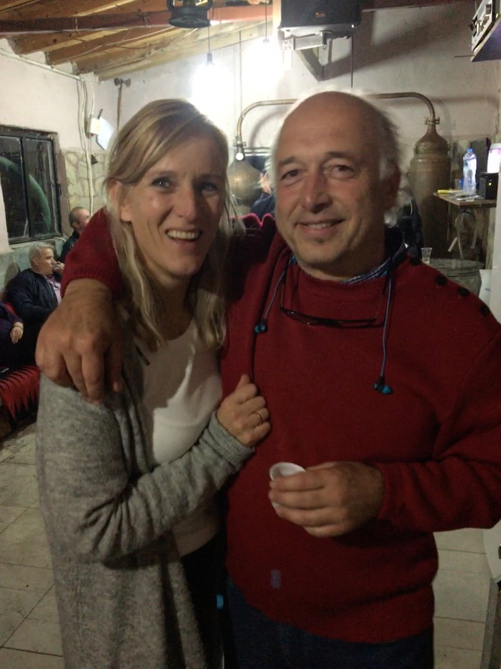 Laurens and Annette at the end-of-harvest celebration - making Tsiporo