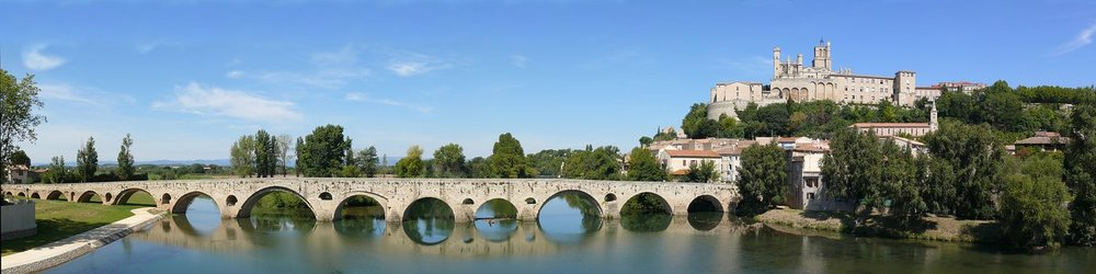 The Roman Bridge at Bèziers. The Via Domita was built by the Romans to connect the empire with the Spanish peninsula. In so doing the Romans created new markets for the wines of this part of the Languedoc