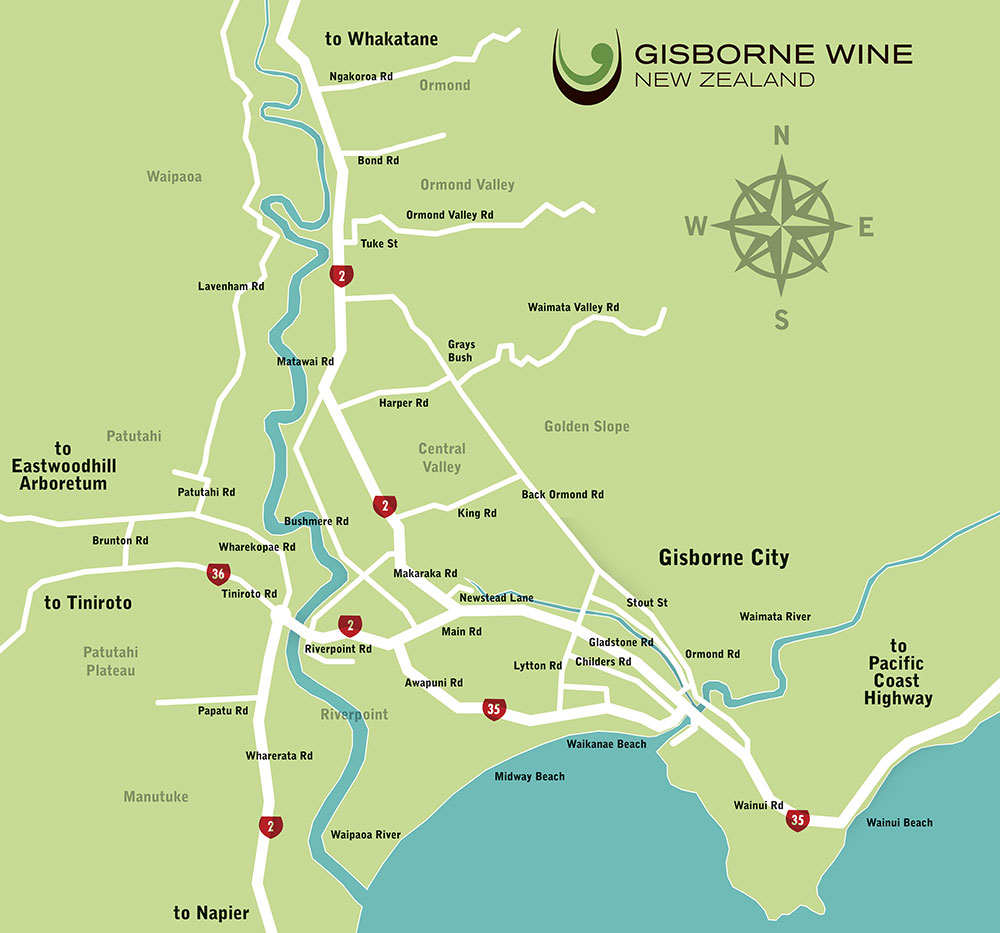 The Gisborne wine route is, happily, concentrated in a small triangle of roads near Gisborne town.