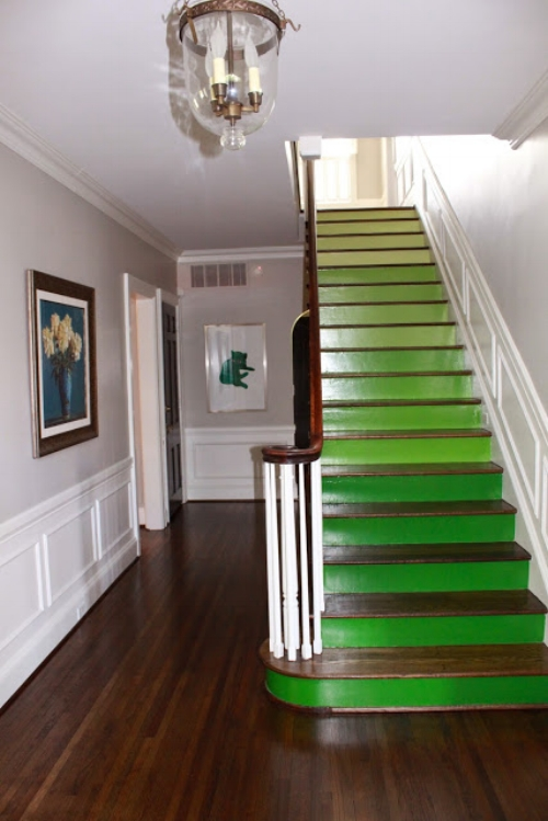 Green Ombre Painted Stairs