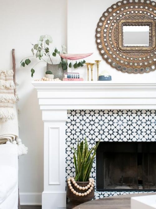Cement Tiles On Fireplace