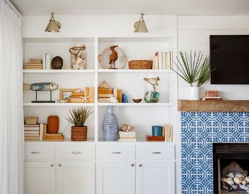 Blue Tiled Fireplace