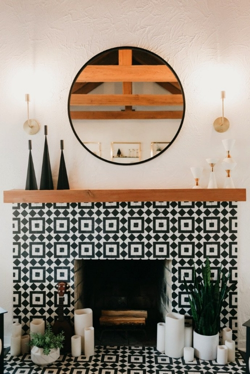 Black and White Tiled Fireplace