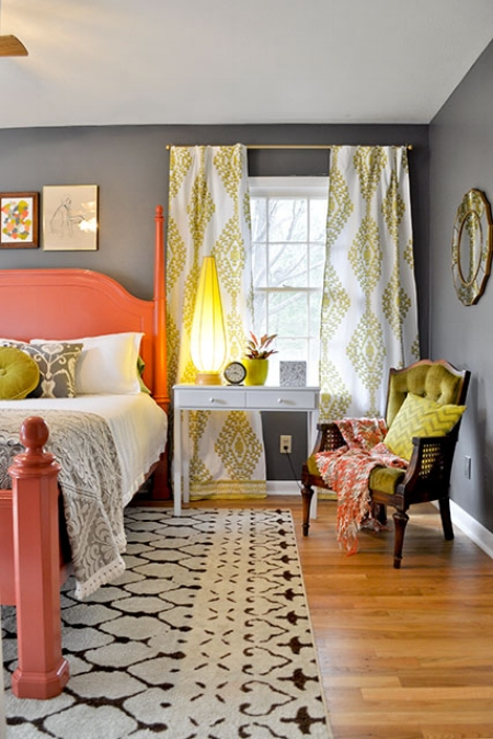 Orange Painted Bed Frame