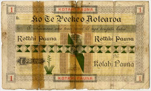 In 1886 the  Māori King Tāwhiao established a bank, Te Peeke o Aotearoa , which was in business until around 1905.