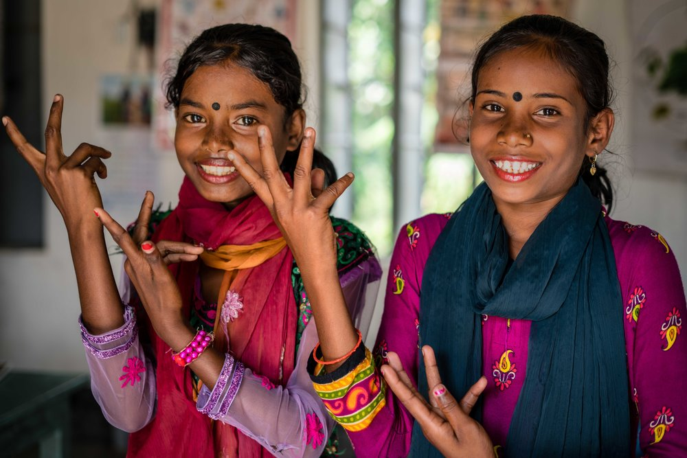 Two girls, classmates, from Bangladesh