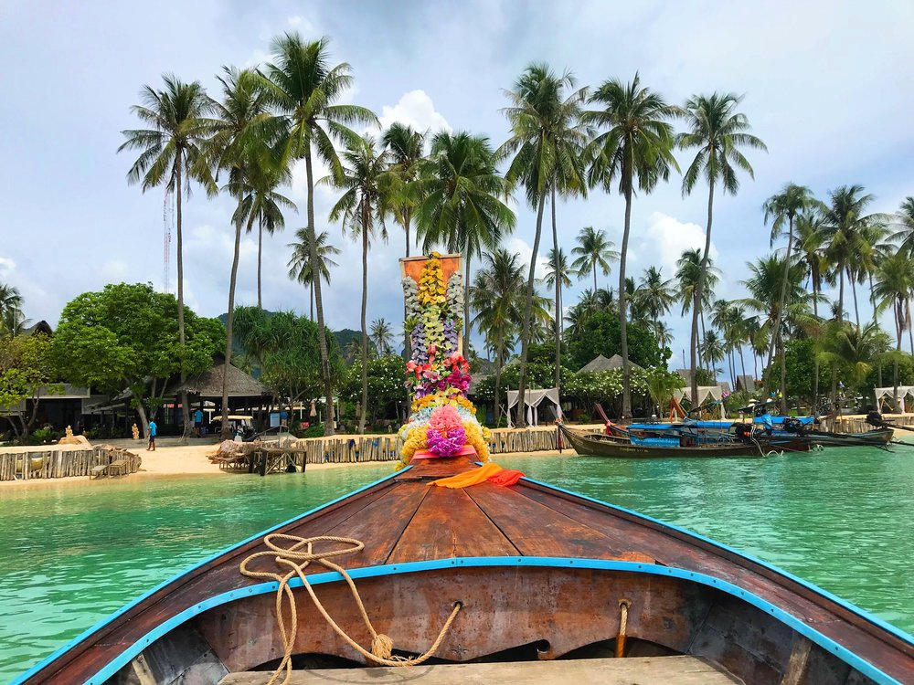 Arriving in a traditional boat at my Phi Phi accomodation at Phi Phi Island Village Resort